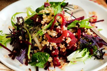 Quinoa, lemon, sesame and beetroot salad