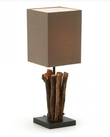 Lámpara de sobremesa de madera tropical reciclada con pantalla de algodón marrón