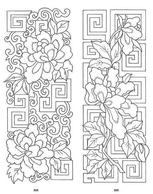Traditional Chinese Embroidery Designs 3 ……….. These can work out so well with other media too – glass painting, fabric painting, red work embroidery, mixed media work, etc. !