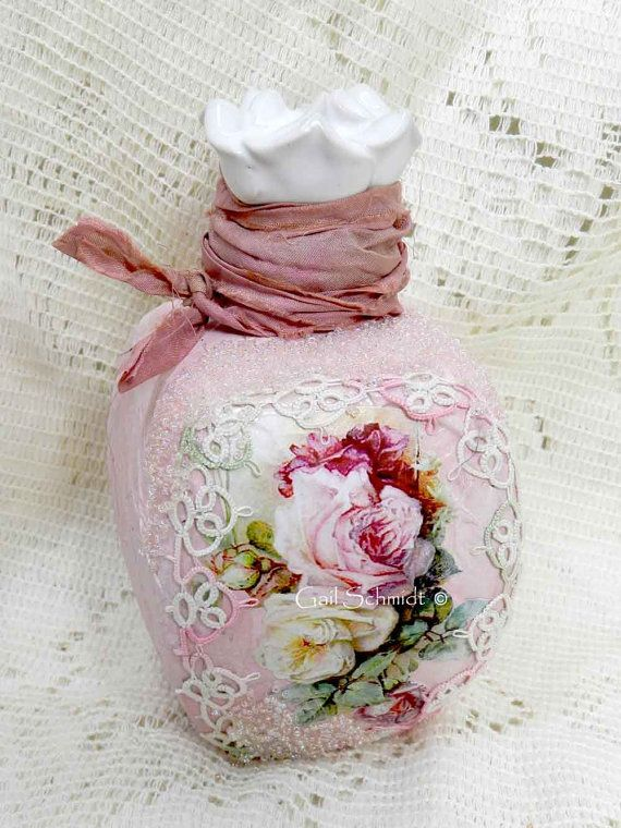 Altered Art Bottle Decorative Bottle Roses by shabbycottagestudio, $25.00
