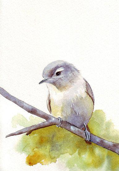 Pájaro blanco en rama. Art watercolor birds