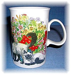DUNOON TEA COFFE MUG FINE BONE CHINA Sophisticats (Image1) U.S plus shipping Your Price: $ 22.00  Item Number: 0916200527