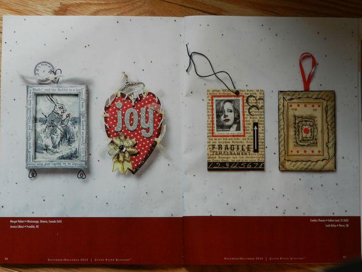 (Far Left) M. Hebert inclusion in Cloth Paper Scissors mag. Mixed Media, image transfer.