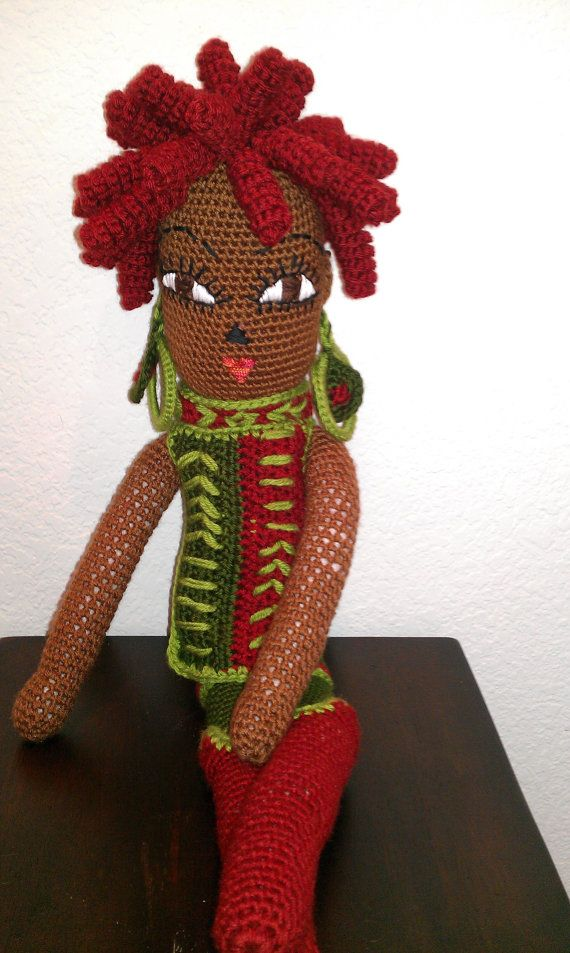 "Crochet 24"" African American Doll,Tribal Print,Red Dreadlocks,Crochet Black Doll,OOAK African American Art Doll, Bee Love Doll"