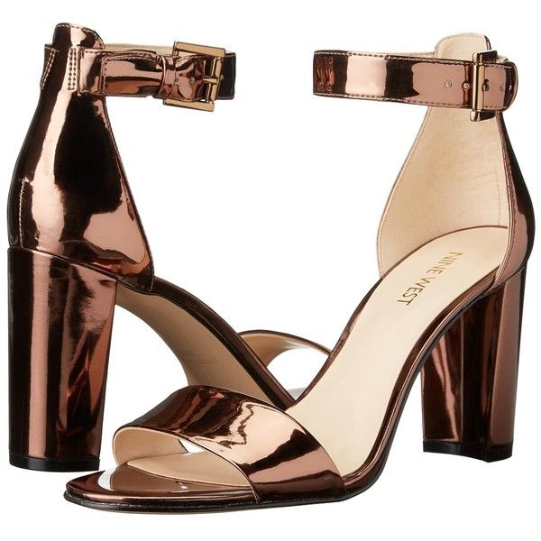 Nine West Nora (Bronze Synthetic) Women's Shoes ($81) ❤ liked on Polyvore featuring shoes, sandals, heels, open toe heel sandals, wrap sandals, fleece-lined shoes, nine west and block heel sandals