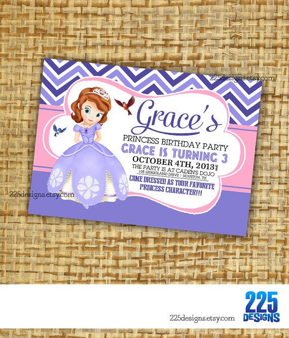 Sophia the first birthday invitation - girls - princess theme purple lavendar pink (DIY printable) chevron on Etsy, $14.99