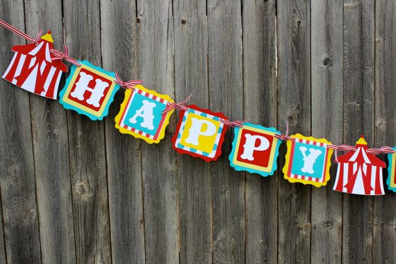 Circus Banner or Name Banner for Circus Birthday or Carnival Party or Baby Shower