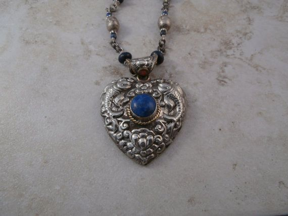 Tibetan Silver and Lapis Heart Pendant Necklace by BCBeadery, $75.00