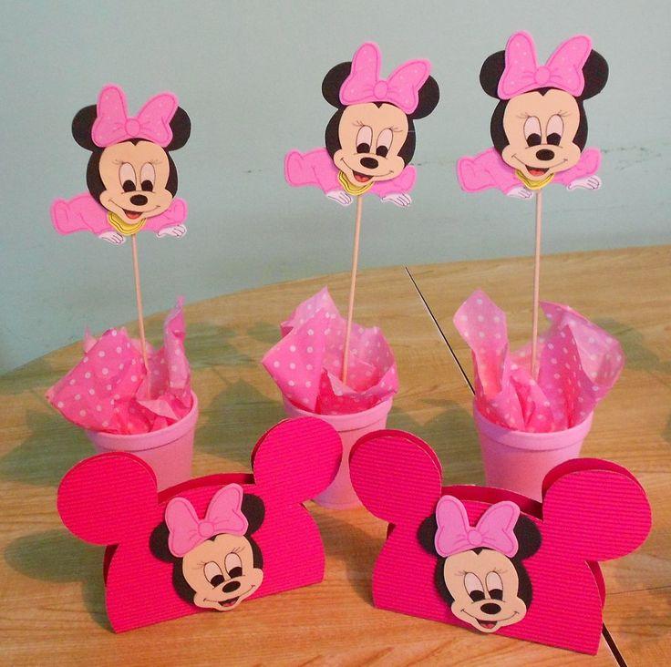 Centro de mesa servilletero minnie bebe cumplea os - Ideas para cumpleanos de bebes ...