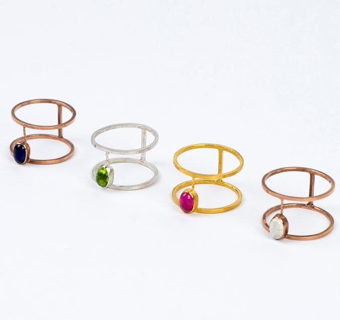 Ellie Air Jewellery: Tesoro Rings - the new colour ways of the Tesoro collection; silver and peridot, gold and pink tourmaline and rose gold with moonstone or sapphires. Ring prices range from £140 - £180.