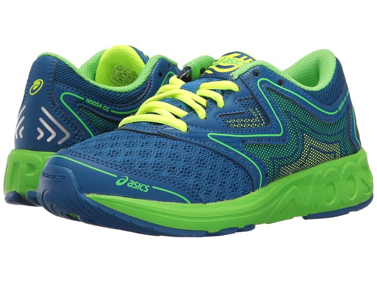 ASICS Kids Noosa GS (Little Kid/Big Kid) Boys Shoes Imperial/Green Gecko/Safety Yellow