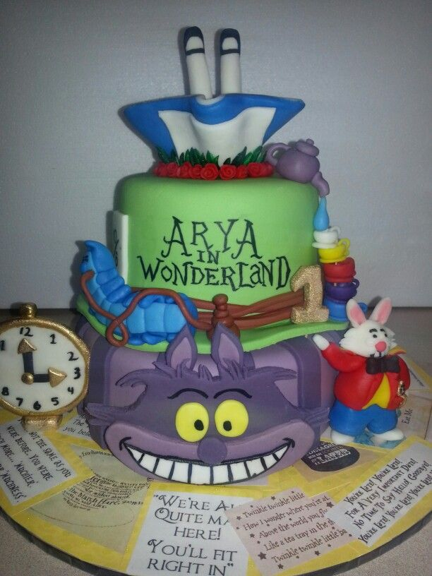 Arya's 1st birthday cake. I Printed a heap of Alice in Wonderland sayings, glued them on a board and covered with clear contact. Could be so creative with this one!