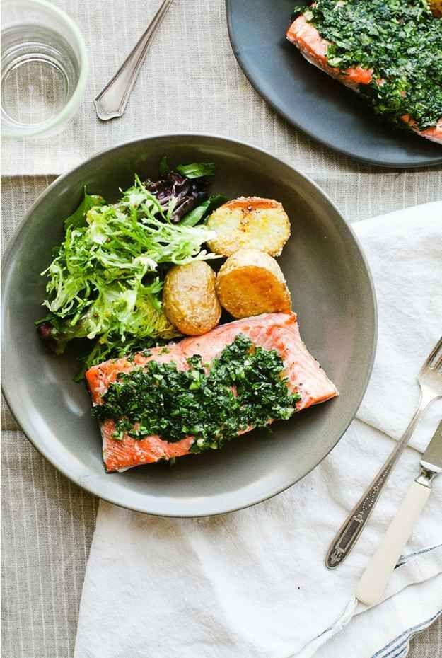 Salmon, crispy potatoes and greens