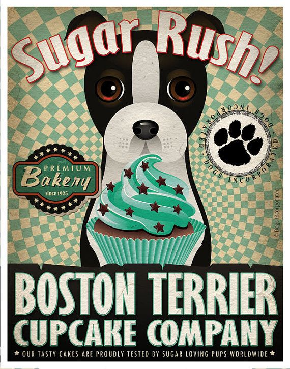 Boston Terrier Cupcake Company Original Art by DogsIncorporated, $29.00