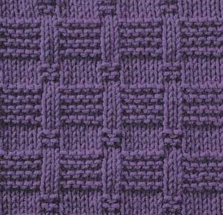 Knitting stitch pattern with rows of reverse garter and stockinette tiles instructions and chart