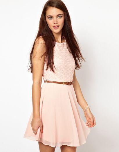 Primark Embroidered Lace Chiffon Dress / Pudroworóżowa sukienka z koronkową górą