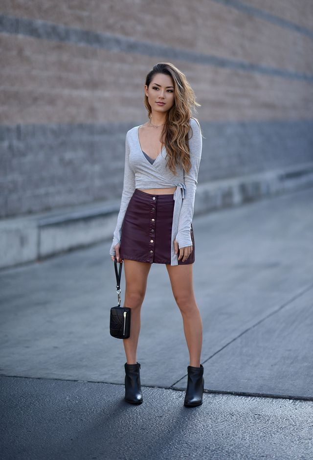 Burgundy front buttoned leather skirt and ankle boots