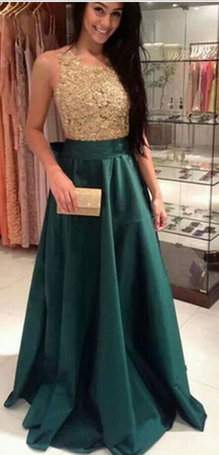 Appliques And Satin Prom Dresses, Floor-Length Prom Dresses, Sexy Prom Dresses, A-Line Prom Dresses, Charming Backless Evening Dresses