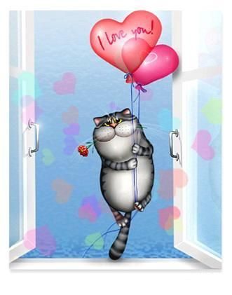 Праздники - День Святого Валентина / День всех влюбленных - 14 Февраля 2015 - Влюбленный кот