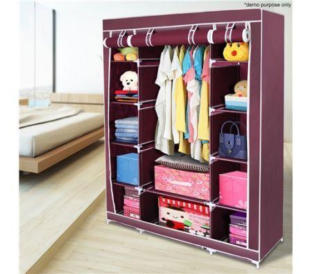 Red 5-Level Non-Woven Cloth Storage Wardrobe
