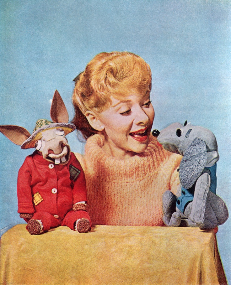 """Ventriloquist Shari Lewis with her puppets Charlie Horse and Hush Puppy from """"The Shari Lewis Show,"""" 1961 - 1963."""