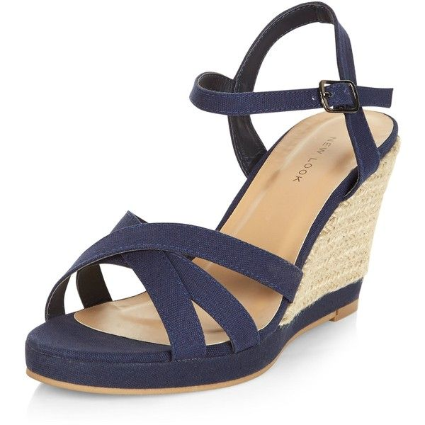 New Look Navy Cross Strap Wedge Sandals (£20) ❤ liked on Polyvore featuring shoes, sandals, navy, wedge sandals, ankle strap wedge sandals, navy blue sandals, navy shoes and navy wedge shoes