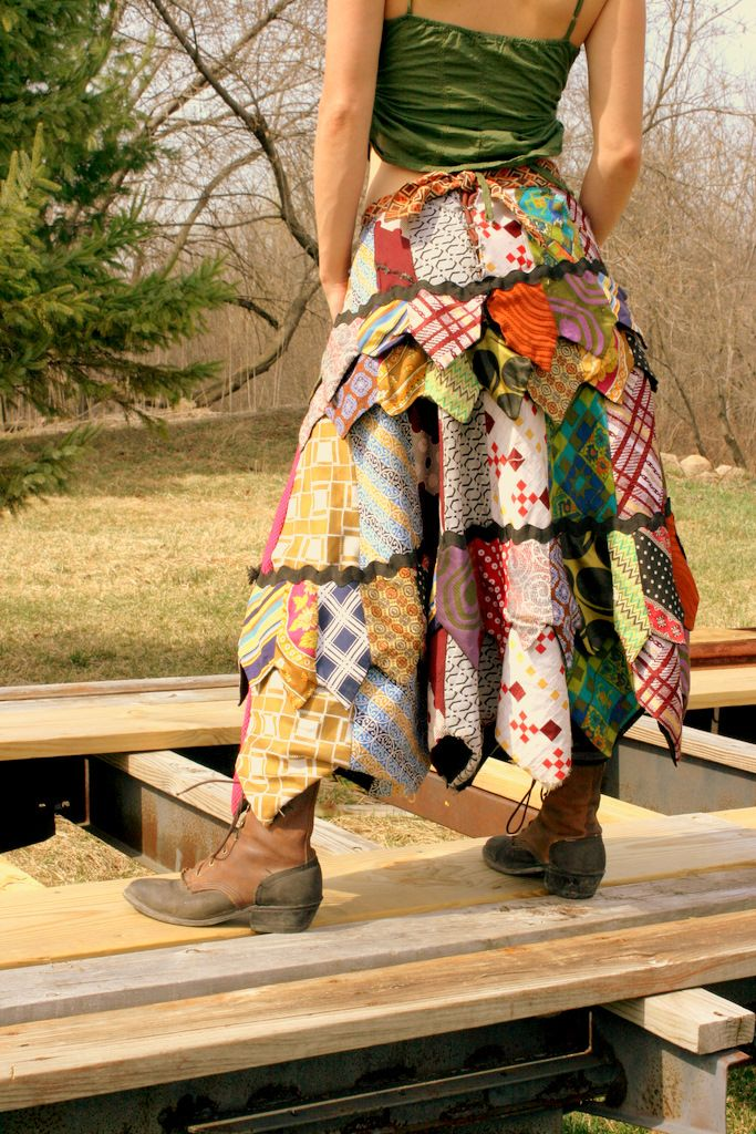 Long gypsy skirt made entirely from vintage neck ties (and a lil' bit of ric-rac).
