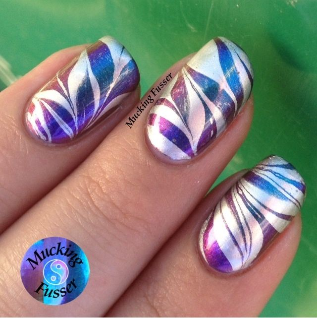 ILNP Birefringence Multi-chrome w/ Silver & Clear Water Marble Nails