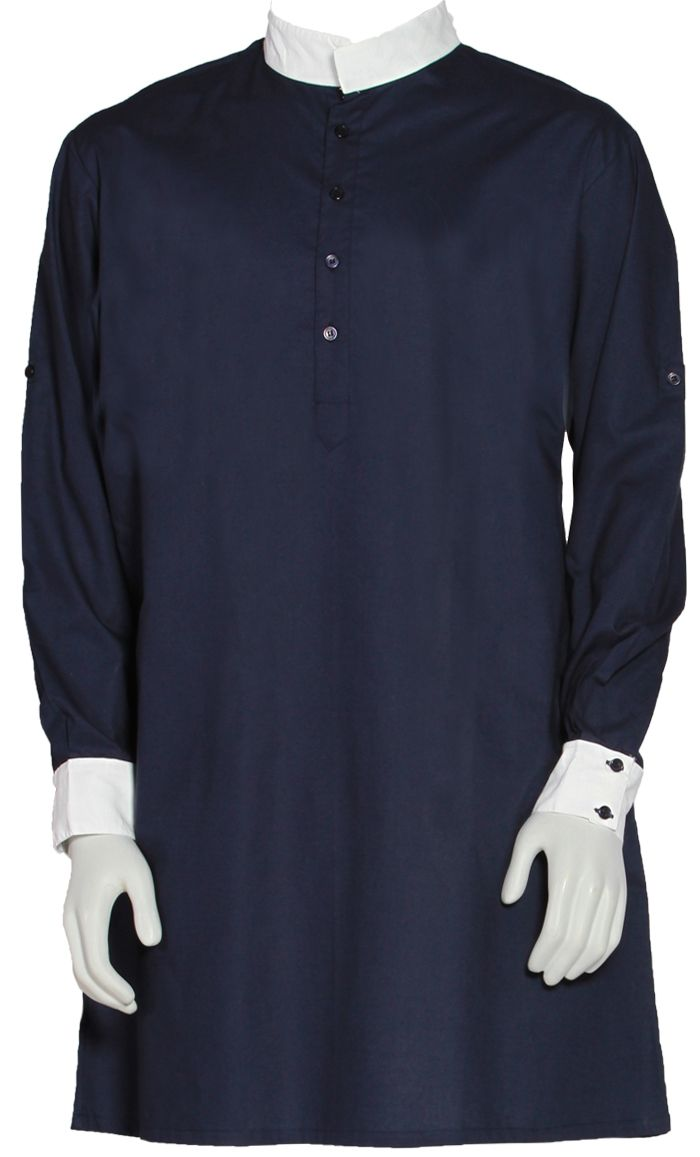 This men's Kurta is great for casual or formal wear! Short collar, buttons front neck to chest, side pockets and slits on both sides. Fabric 100% Cotton Poplin