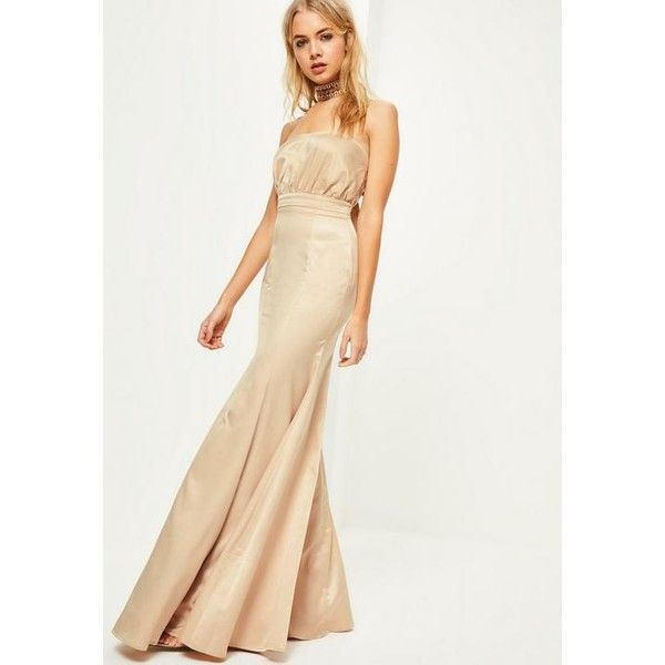 Ruched bandeau maxi dress