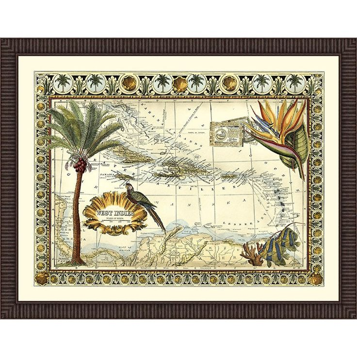 Map of West Indies Framed Graphic Art