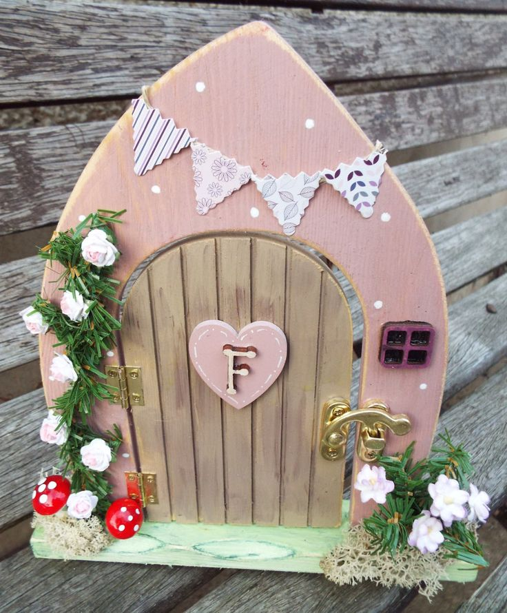 WOODEN FAIRY DOOR - free standing, hand-painted. Custom made to order and decorated by hand. Can be personalised. by KatijanesCreations on Etsy