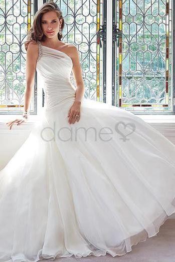 wedding dresses/Sanduhr eine Schulter Satin Organza bodenlanges elegantes & luxuriöses aufgeblähtes Brautkleider
