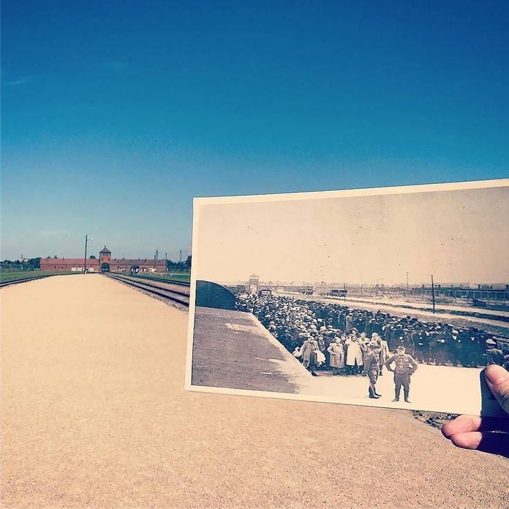 Auschwitz II-Birkenau. 1944 vs. today. Selection platform.  The Memorial published an album 'Auschwitz-Birkenau. The place where you are standing...' with contemporary photographs of places in Birkenau that SS documented in May 1944. --- Photo by @emparadise ---