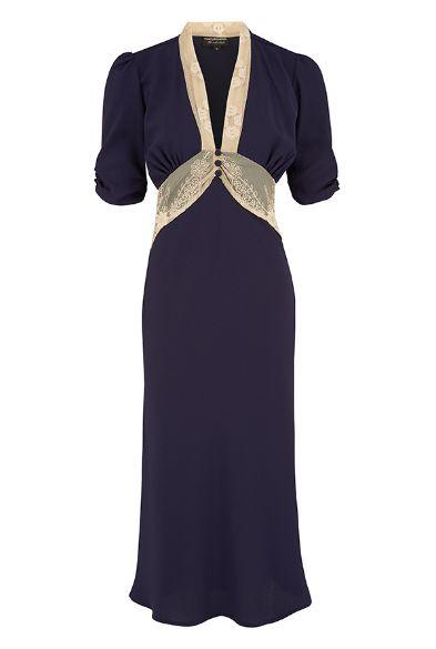 Mabel dress in navy crepe