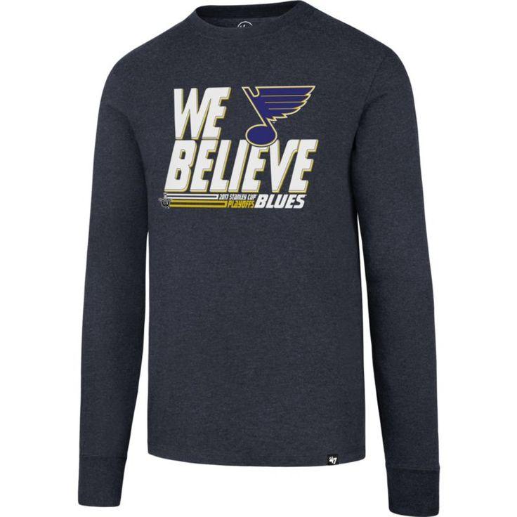 '47 Men's 2017 NHL Stanley Cup Playoffs St. Louis Blues Navy Long Sleeve T-Shirt, Size: Medium, Team