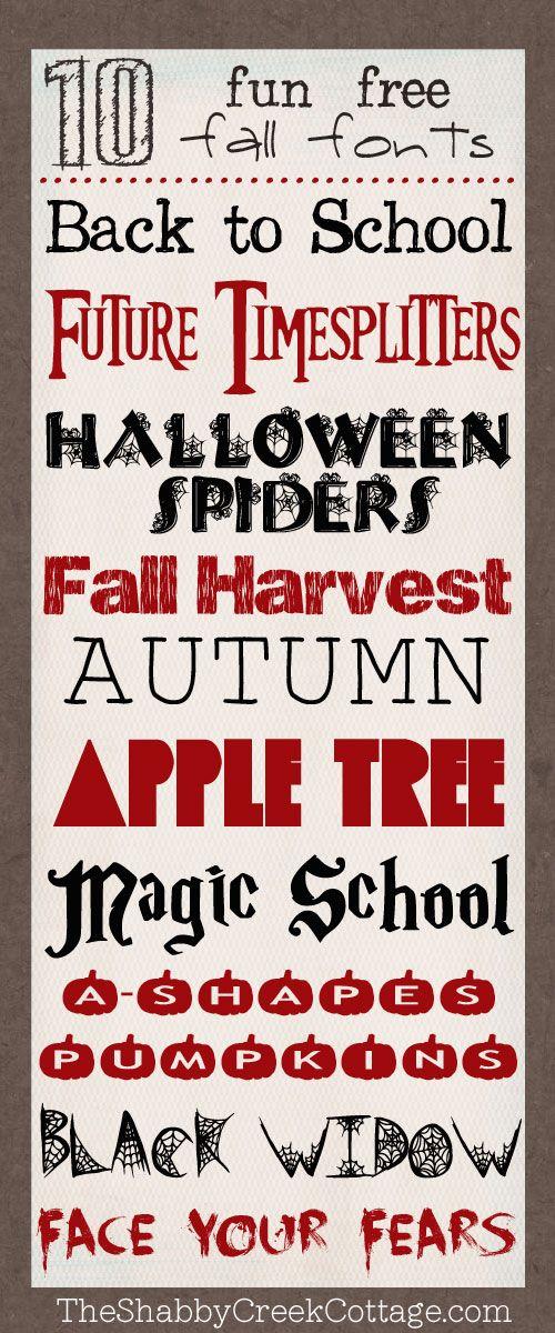 free fall fonts @Gina Gab Solórzano @ Shabby Creek Cottage