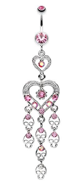 Heart Chandelier Belly Button Ring - 14 GA (1.6mm) - Light Pink - Sold Individually