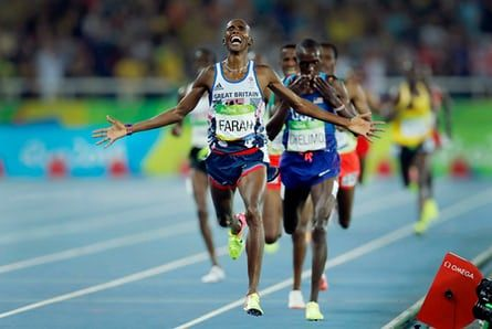 Mo Farah of Great Britain celebrates victory as he crosses the line in the men's 5,000m during day fifteen of the 2016 Olympics in Rio de Janiero