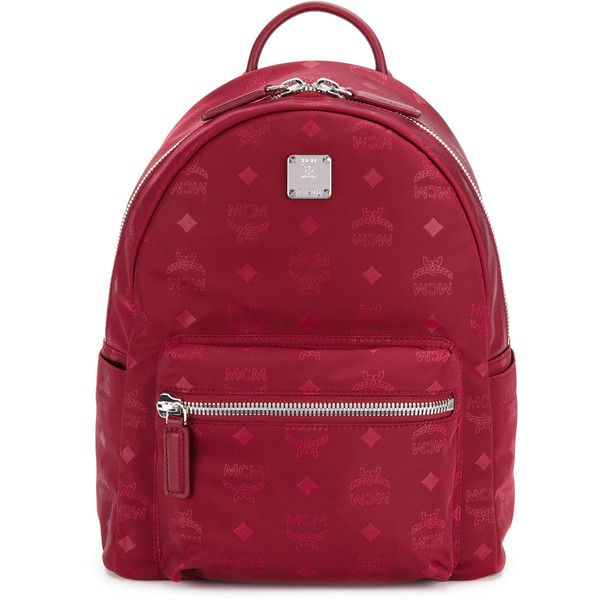 MCM logo printed backpack ($576) ❤ liked on Polyvore featuring bags, backpacks, red, red bag, day pack backpack, leather backpack, red backpack and backpack bags