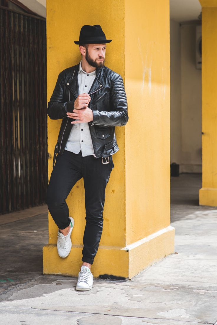 Black leather jacket + button down + white sneakers