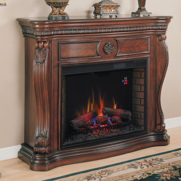 Classic Flame Lexington Infrared Fireplace Mantel - Empire Cherry - The Classic Flame Lexington Infrared Fireplace Mantel - Empire Cherry brings a dramatic visual and cozy warmth to any room. This mantle features an al...
