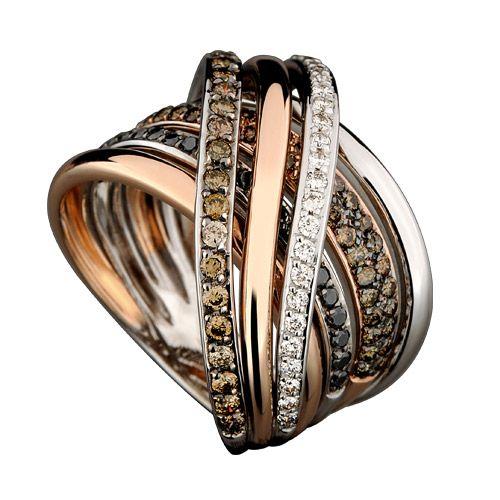 Anel em Ouro Rosê e ouro branco com diamantes  negros,diamantes brown e diamantes brancos.