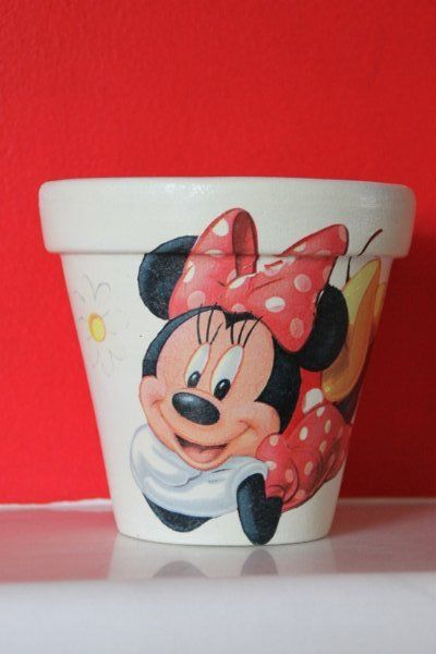 "POT ""Minni Mouse"" #decoupage #pot"