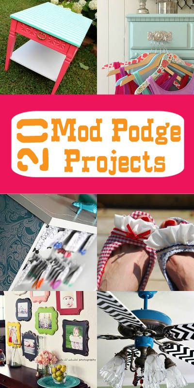 Main Ingredient Monday- 20 Mod Podge Projects  #modpodge #decoupage #crafts
