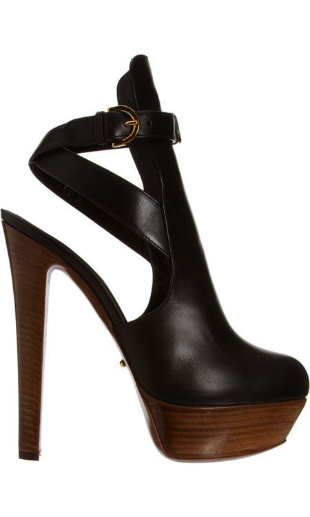 "SERGIO ROSSI, Open Back Ankle Boot In Black. With a 6"" heel not sure I can carry it off. Might Weeble-wobble at 6'2"", but God I'd give it my best shot!"