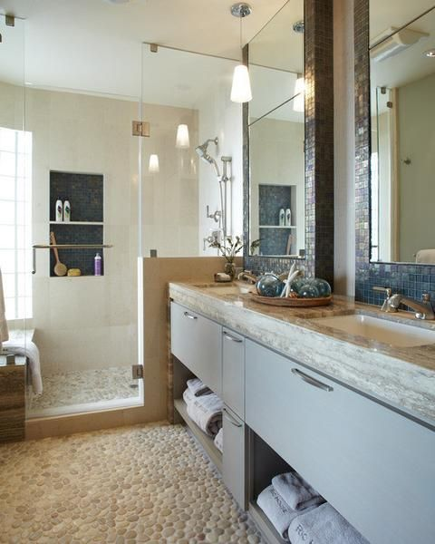 Elegant Design beautiful remodels with easy to install Tan Pebble Tile from the leader in pebble floors