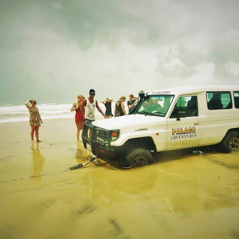 The moment your 4wd starts sinking into the sand and you're stuck in the middle of Fraser Island. I'm the one looking devastated!!! Take me back! #reminscing #fraserisland #4wd #travelstories #palaceadventures #memories