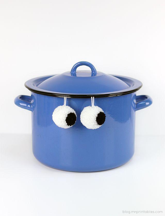 Pompom Eyebombing / DIY pompom googly eyes  - Oh Mr. Printable's We Like You!