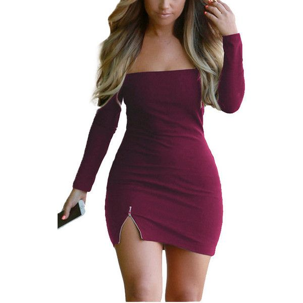 Yoins Burgundy Off Shoulder Side Split Dress with Long Sleeves (£13) ❤ liked on Polyvore featuring dresses, burgundy, long sleeve off the shoulder dress, purple mini dress, long-sleeve mini dress, purple dress and burgundy long sleeve dress